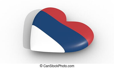 Pulsating heart in the colors of Serbia flag, on a white...