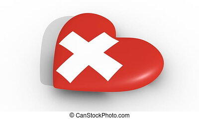 Pulsating heart in the colors of Switzerland flag, on a...
