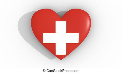 Pulsating heart in the colors of Switzerland flag, on a white background, 3d rendering top, loop.