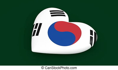 Pulsating heart in the colors of the South Korea flag, 3d...