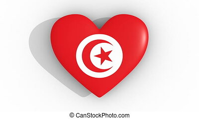Pulsating heart in the colors of Tunisia flag, on a white...