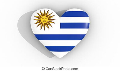 Pulsating heart in the colors of Uruguay flag, on a white...