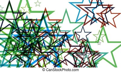 Digital animation background with pulsating star shapes.