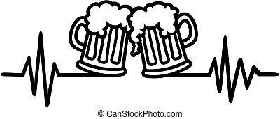 pulsation, bière, grandes tasses, graphique