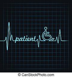 pulsation, faire, mot, patient