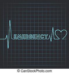 pulsation, faire, mot, urgence
