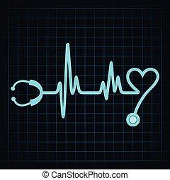 pulsation, faire, stéthoscope