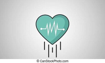 pulsation, symbole médical, hd, définition