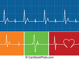 pulse color - Lifeline in an electrocardiogram. Vector