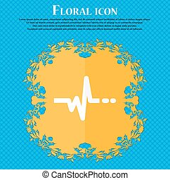pulse icon. Floral flat design on a blue abstract background with place for your text. Vector