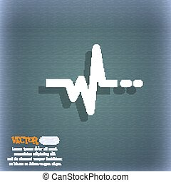 pulse icon. On the blue-green abstract background with shadow and space for your text. Vector