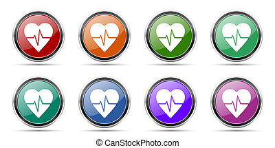 Pulse icons, set of round glossy web buttons with silver metallic chrome borders isolated on white background in 8 options