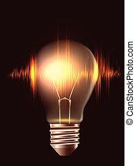 pulse., illustration, élément, réaliste, vecteur, conception, ampoule, ton