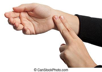 Medicine healthcare human hand measuring arm pulse