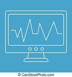 Pulse monitoring thin line icon