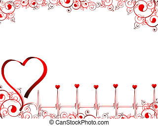pulse of love illustration with heart, swirls and copyspace ...