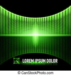 Pulse of music - Shiny background with green digital music...