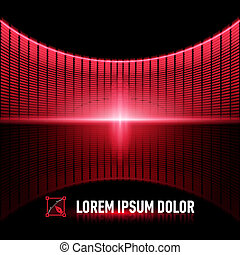 Pulse of music - Shiny background with red digital music...