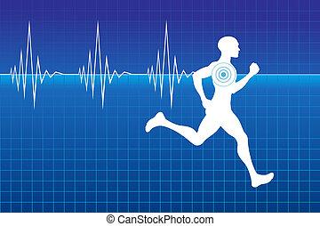 Pulse of running athlete - Running athlete on monitor with...