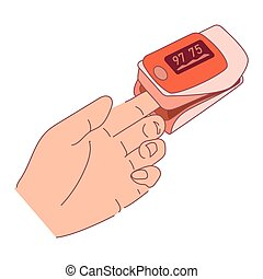 Pulse Oximeter on finger. Digital device to measure oxygen saturation. Reduced oxygenation is  emergency sign of pneumonia. Health care pulse oximeter used to measure pulse rate and oxygen levels.