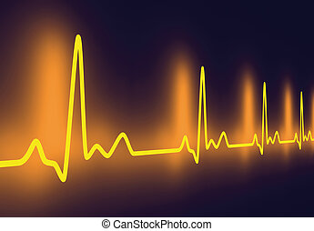 3D rendered Illustration. Heartbeat graph.