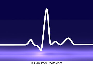 Pulse trace - 3D rendered Illustration. Heartbeat graph.