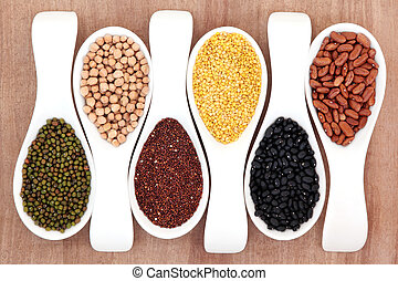 Pulses In Spoons - Pulses selection in white porcelain...