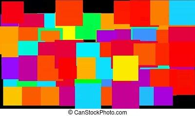 Pulsing and ebbing rectangular blocks, high tech background.