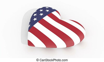 Pulsing heart in US flag colors casting a shadow on a white...