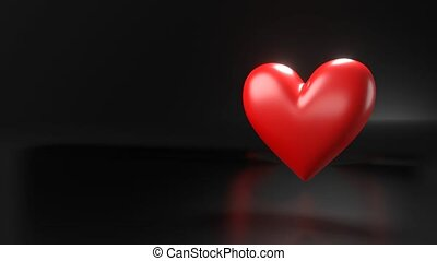 Pulsing red heart shape object on black text space. Loop able 3D animation.