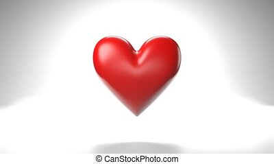 Pulsing red heart shape object on white background. Loop able 3D animation.