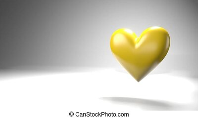 Pulsing yellow heart shape object on white text space. Loop able 3D animation.