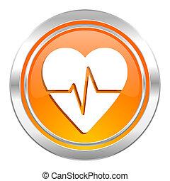 pulso, ícone, taxa coração, sinal