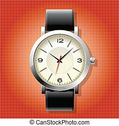 pulso, homens, relógio, análogo, clássicas