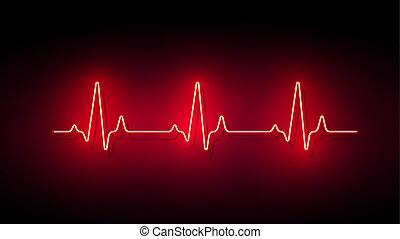 pulso, néon, fundo, forma coração, vetorial, luz