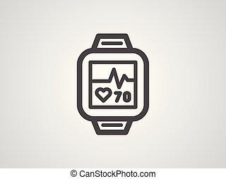 pulsometer, ベクトル, シンボル, アイコン, 印