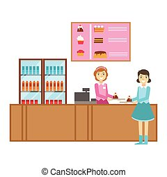 pult, leány, elrendezés, desszert, ábra, személy, vektor, cukrászsütemény, kellemes, torta, mosolygós, kávéház, birtoklás