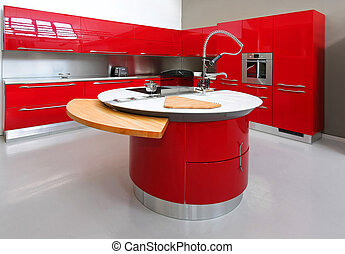 pult, piros, konyha