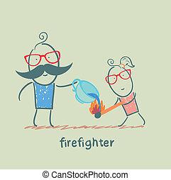 pulvérisateurs, brûlé, tasse, pompier, eau, sortez