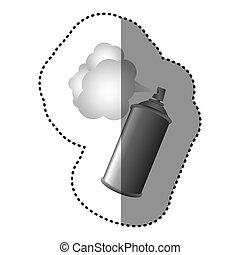 pulvérisateurs, gris, aérosol, nuage, icône