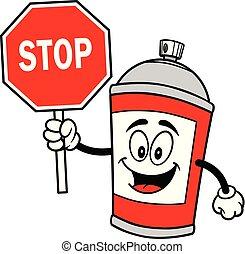 pulvérisation, arrêt, boîte, signe