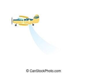 pulvérisation, avion, vecteur, champ, icône
