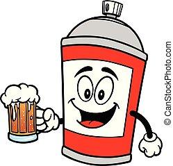 pulvérisation, boîte de bière