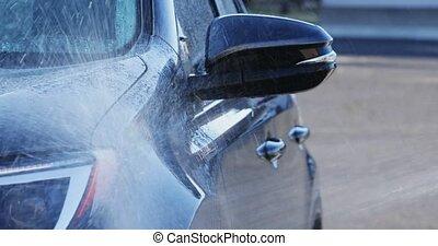 pulvérisation, côté, lavage, véhicule eau, voiture