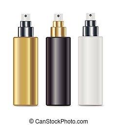 pulvérisation, ensemble, bouteilles, cosmétique