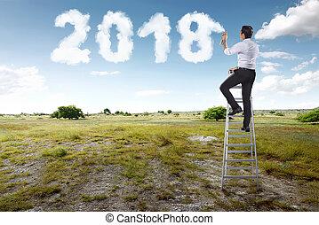 pulvérisation, forme, 2018, utilisation, homme affaires, blanc, escalier, nuage