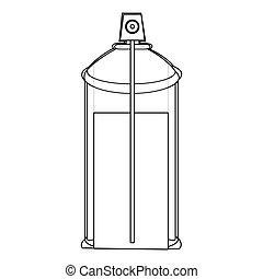 pulvérisation, interne, boîte aérosol, bouteille, vue, contour, icône