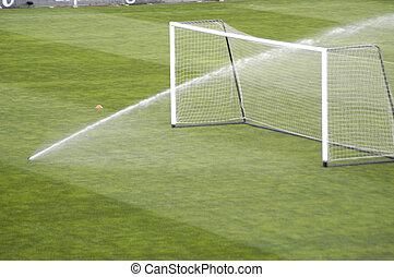 pulvérisation, irrigation, de, a, football, stade