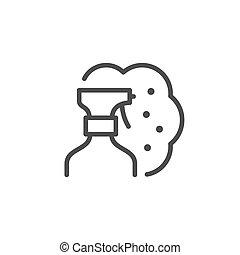 pulvérisation, ligne, contour, pulverizer, icône