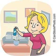 pulvérisation, maison, girl, freshener, air
